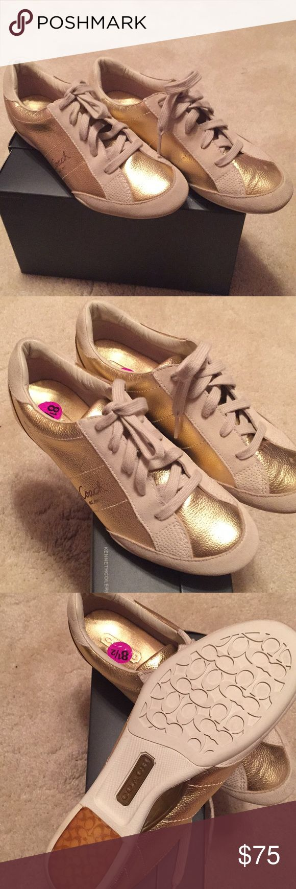 Coach tennis shoes Gold Leather tennis shoes/sneakers Coach Shoes Sneakers