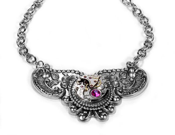 Steampunk Jewelry Necklace CERTINA Watch Silver ORNATE