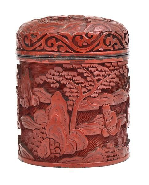 Graham Geddes Antiques - A Chinese Cinnabar Carved Cylindrical Box, Call (03) 9509 0308 or send an enquiry grahamgeddes@grahamgeddesantiques.com (http://shop.grahamgeddesantiques.com.au/a-chinese-cinnabar-carved-cylindrical-box/)