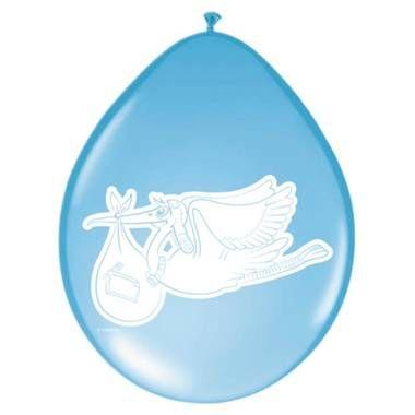 Geboorte ballonnen ooievaar - 8 stuks - blauw  Maak het geboortefeest compleet met deze baby blauwe ballonnen met een afbeelding van een ooievaar  EUR 2.45  Meer informatie