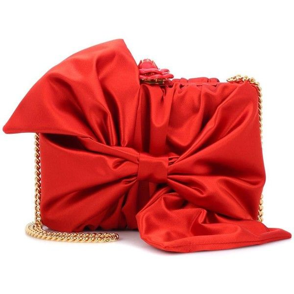 Oscar de la Renta Rogan Bow Box Clutch ($2,230) ❤ liked on Polyvore featuring bags, handbags, clutches, red, red box clutch, box clutch, red clutches, oscar de la renta purse and hardcase clutch