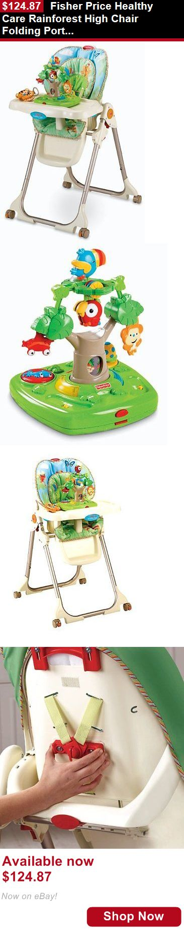 Baby High Chairs: Fisher Price Healthy Care Rainforest High Chair Folding Portable Baby Highchair BUY IT NOW ONLY: $124.87