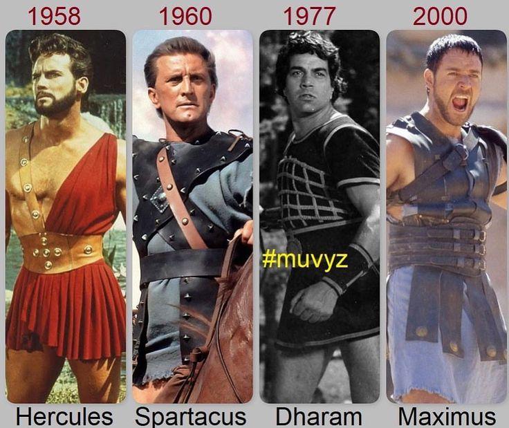 "2 Likes, 1 Comments - muvyz.com (@muvyz) on Instagram: ""#Hercules 1958 #SteveReeves 💪 #Spartacus 1960 #KirkDouglas 💪 #Dharam 1977 #Dharmendra 💪 #Maximus…"""