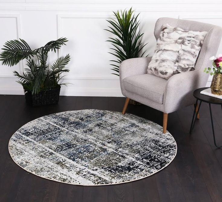 Montage Distressed Modern Navy Round Rug Round Rugs Patterned