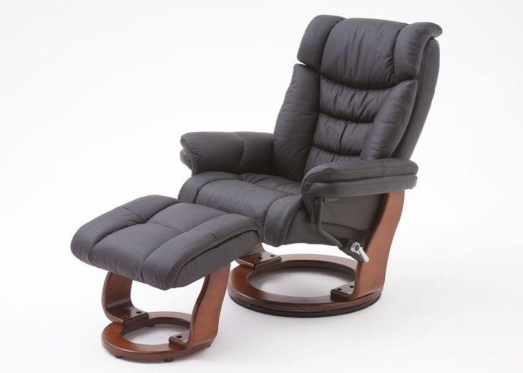 Relaxsessel Toronto Leder Schwarz Fuß Walnuss 8836. Buy now at https://www.moebel-wohnbar.de/relaxsessel-toronto-fernsehsessel-mit-hocker-echleder-schwarz-8836