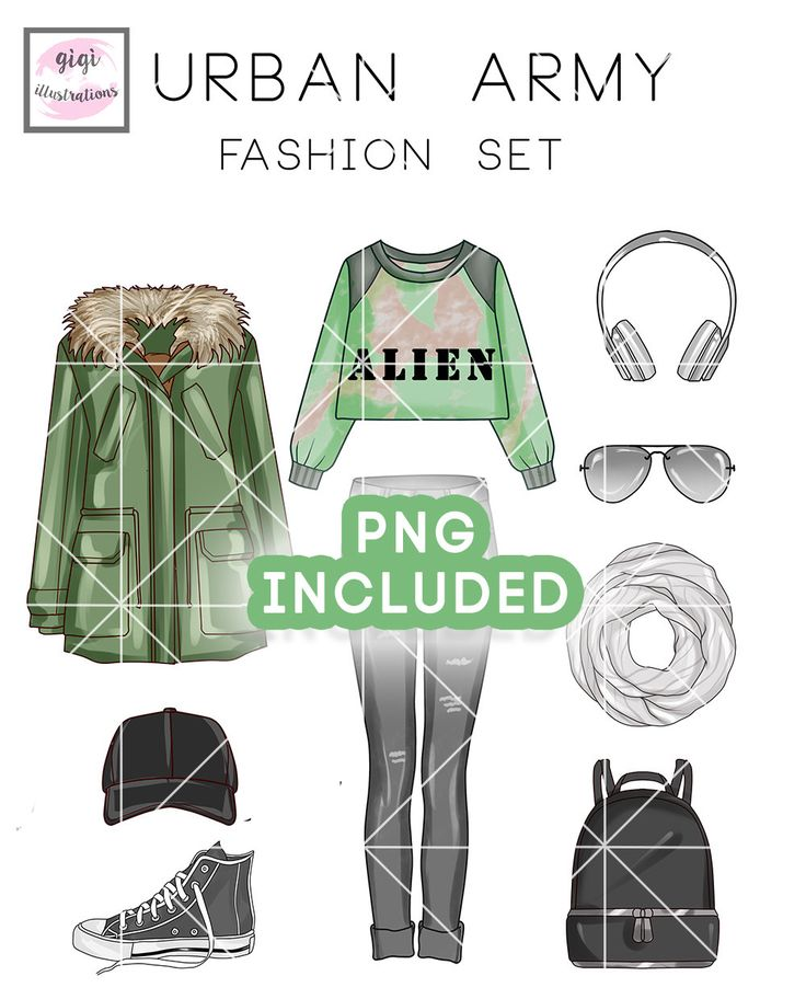 INSTANT DOWNLOAD - Clipart set - Fashion Illustration - Casual outfit clip art collection by TheGGShop on Etsy