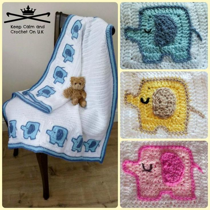 Crochet Pattern For Elephant Blanket : Elephants On Parade Baby Blanket: http://www.craftsy.com ...