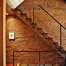 Beautiful Modern Wrought Iron, Stairs And Maybe A Blond Brick Veneer Wall To Give The  Entrance