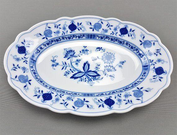 Tirschenreuth  Zwiebelmuster echt Cobalt Blau  Kuchenteller  Tortenplatte