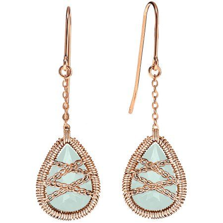 5th & Main Rose Gold over Sterling Silver Hand-Wrapped Dangle Teardrop Chalcedony Stone Earrings, Women's