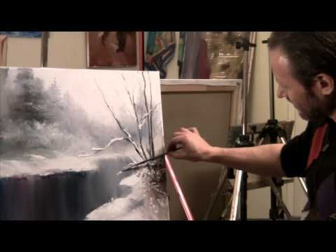 Sakharov. Snow & winter wood very ease oil painting with a palette knife. Step by step Full - YouTube