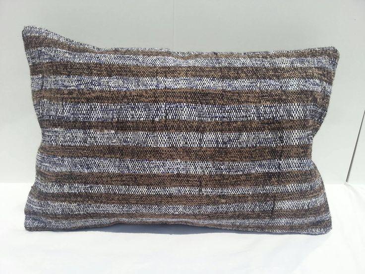 Striped Pillow, 16x24 inches, Vintage Kilim Pillow Lumbar, Handwoven Decorative Turkish Kilim Pillow Lumbar by Simavrug on Etsy