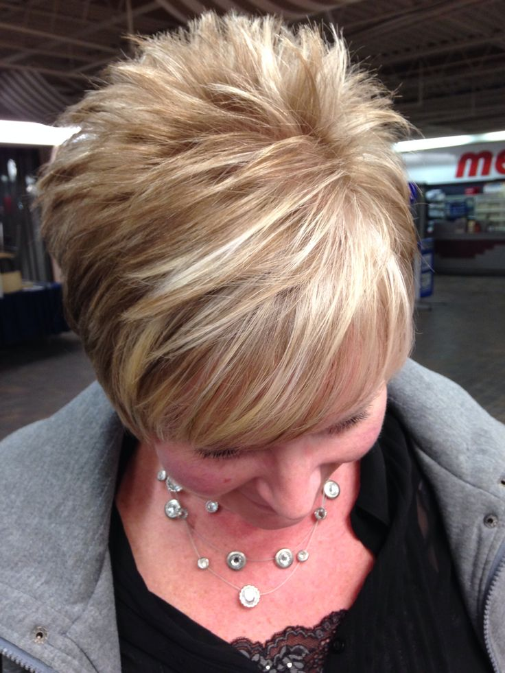 Short hair with blonde highlights