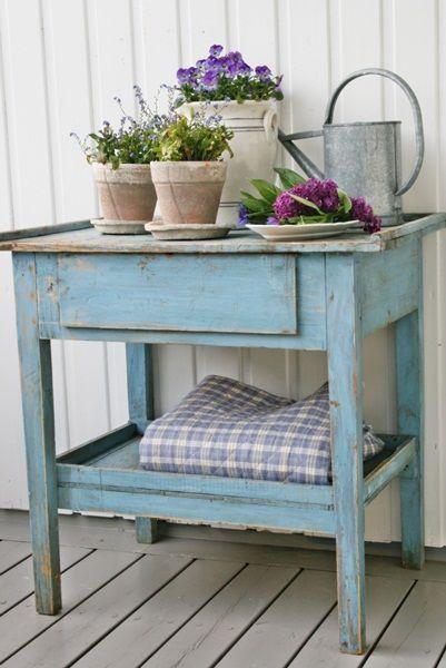 blue potting table
