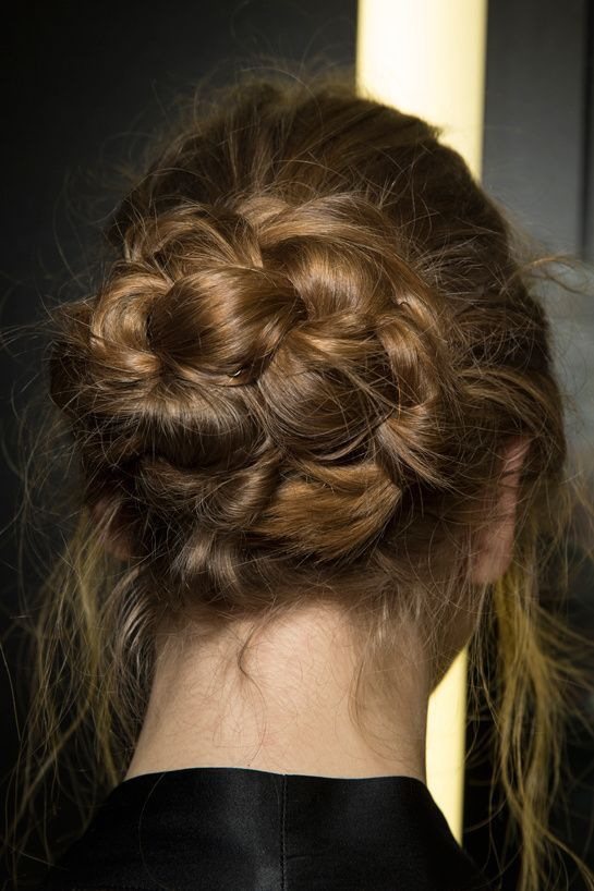 This picture perfect braided bun is quick and easy for a prom updo.