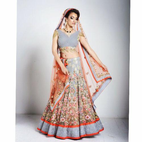 light blue and tangerine bridal lehenga, #indianwedding #desi