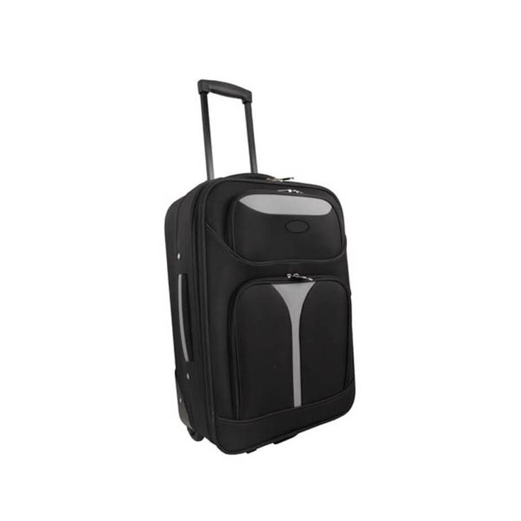 The two-tone Cabin Luggage Bag has a main zip compartment, 2 x front zip compartments, an inner zip pocket, a tag holder, side and top handle. Travel easy and comfortably with The Cabin Luggage Bag.