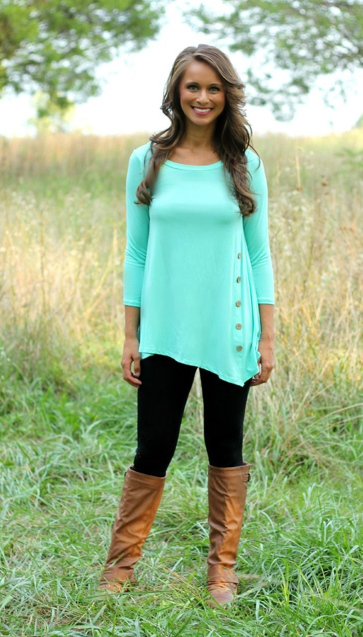 The Pink Lily Boutique - Mint Side Button Tunic, $32.50 (http://www.thepinklilyboutique.com/mint-side-button-tunic/)