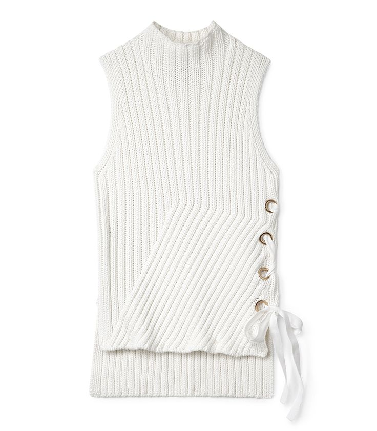 10 Crosby Derek Lam White Ribbed Knit Tank