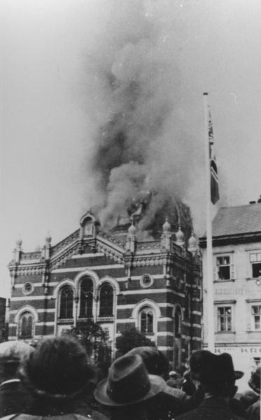 Kristallnacht—German Nazis set fire to the synagogue of Troppau (Czech: Opava)