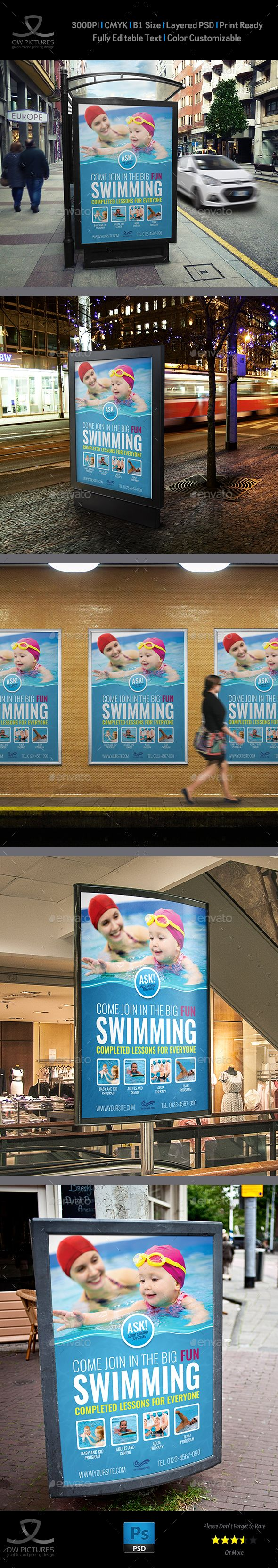 Swimming Poster Template by OWPictures Poster Description: Swimming Poster Templ...