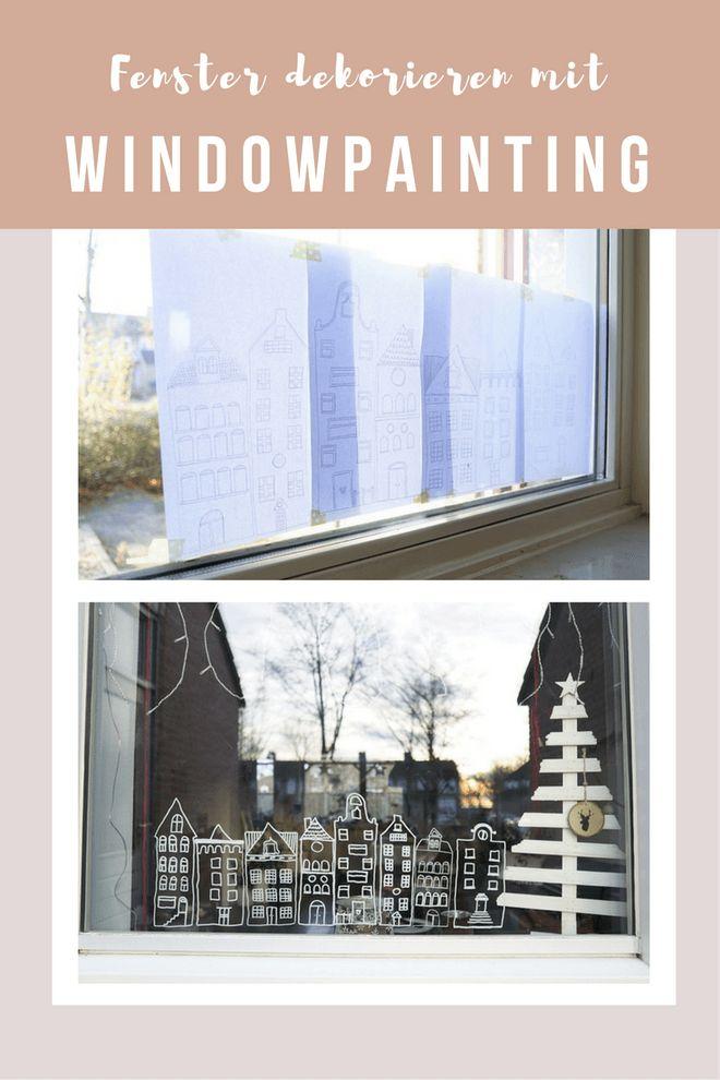 Fenster-Dekoration mit Kreide - Windowpainting leichtgemacht mit gratis Schablone zum downloaden
