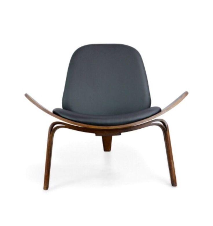 Replica Hans Wegner Shell Chair - Black PU Leather & Walnut | eBay
