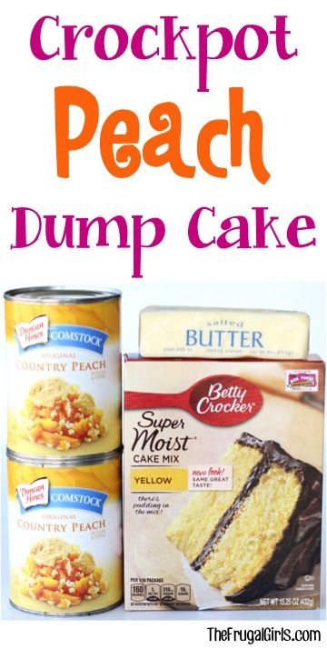 Crockpot Peach Dump Cake Recipe! - from TheFrugalGirls.com ~ just a few ingredients and you've got yourself the most delicious Slow Cooker dessert! So easy and SO good!
