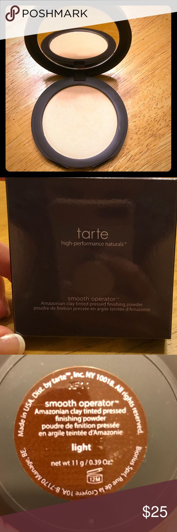 Tarte Smooth Operator Finishing Powder - light Authentic: New tarte pressed finishing powder. Swatched twice with clean brush but the color was too dark. From Sephora. Light - fair to light complexions with beige & yellow undertones tarte Makeup Face Powder
