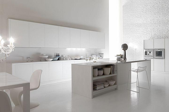 Cucine componibili di design cucine moderne eleganti ecologiche impiallacciato rovere Alpi spazzolato laccato bianco ral 9010 AURORA