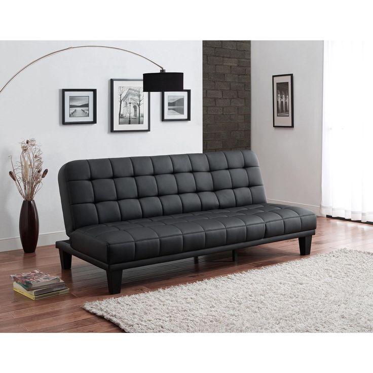 DHP Metropolitan Black Faux Leather Futon Lounger (Futon lounger, black), Size Twin