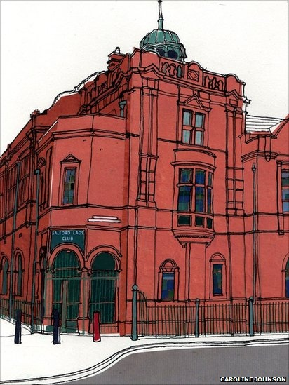 Salford Lads Club by Caroline Johnson; I definitely want a print of this beauty.    *could use plastic sheets and pens to recreate a similar piece*