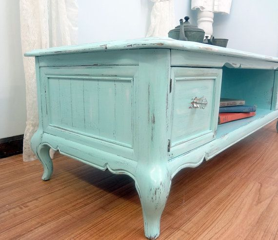 Shabby Chic Robins Egg Blue Coffee Table by ThePinkToolBox on Etsy,