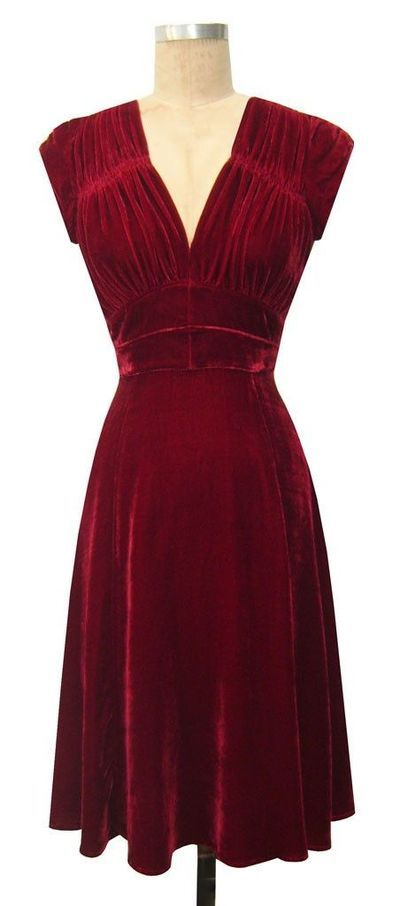 red velvet dresses for women | 1940s dress red velvet / womens apparel - Juxtapost
