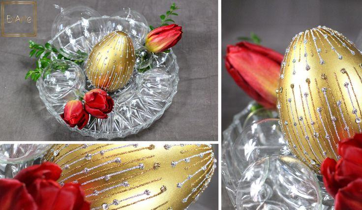 Kompozycja dla wielbicieli minimalistycznej elegancji - złoto i czerwień oraz czyste szkło!