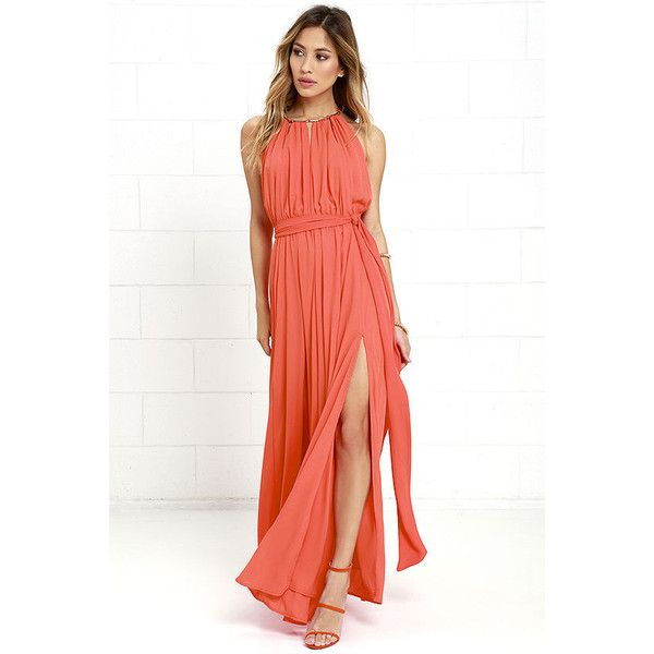 Gleam and Glide Orange Maxi Dress ($115) ❤ liked on Polyvore featuring dresses, orange, white halter dress, side slit maxi skirt, gold maxi dress, orange maxi skirt and white halter top