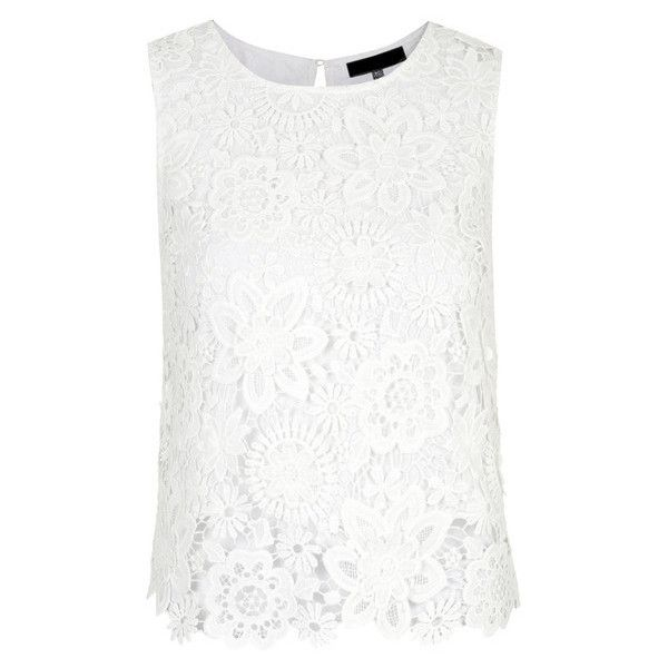 White Floral Crochet Tank Top ($39) ❤ liked on Polyvore featuring tops, shirts, white crochet top, floral shirt, floral tank, crochet shirt and floral print shirt