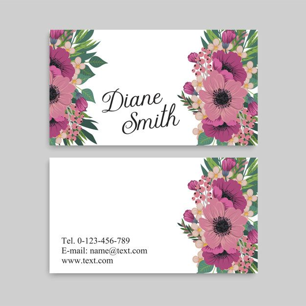 Business Card With Beautiful Flowers Template Free Printable Business Cards Colorful Business Card Beauty Business Cards