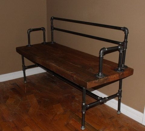 Reclaimed wood bench Industrial Pipe Bench por ReclaimedWoodUSA