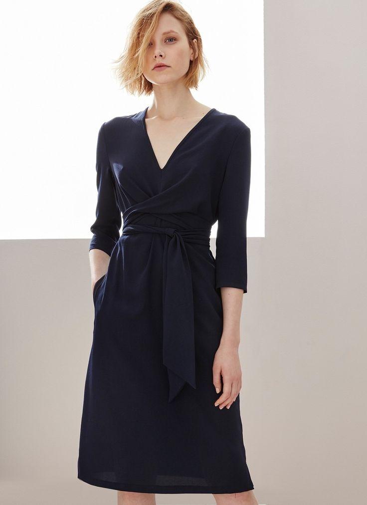 Vestido fluido con lazada - Colección | Adolfo Dominguez shop online