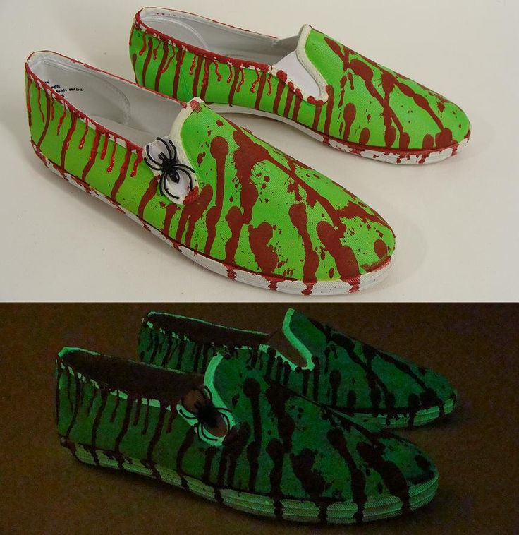 $52.00 Custom Made Bloody Neon Green Glow In The Dark ZOMBIE SHOES w/ Spider Halloween Costume Slip On Loafers mens 13 by wardrobetheglobe on Etsy