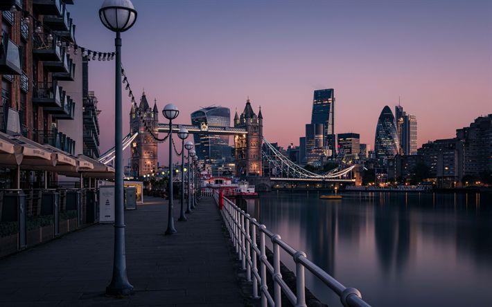 壁紙をダウンロードする ロンドン, タワーブリッジ夜, 高層ビル群, 事業センター, テムズ川, イギリス