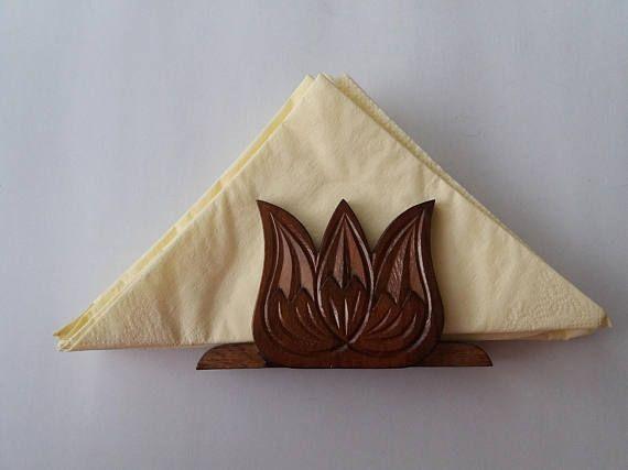 Handcarved brown special handmade napkin holder set tulip