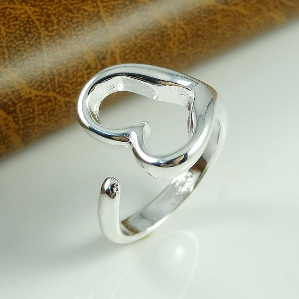 925 heart shape silver ring adjustable size ,925 silver jewelry lowest price shop at www.costwe.com