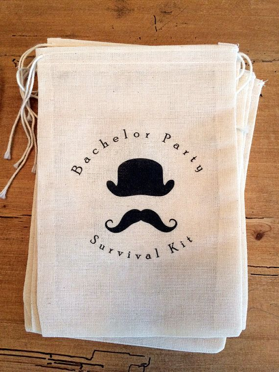 6 Bachelor Party Groomsmen Survival Kit Hangover Bags- Drawstring Bags - Great for Parties, favor bags 5x7 6x8 7x11