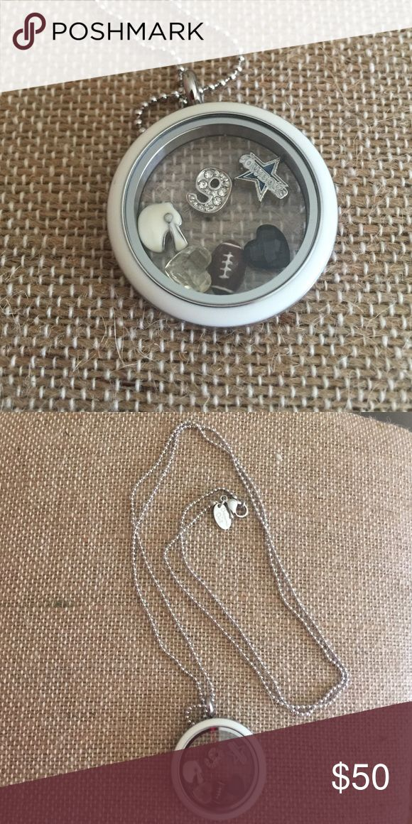 """NWT Origami Owl twist locket, chain, charms New Origami Owl twist locket with white face, 30"""" ball chain, football, helmet, crystal blue and clear heart, 9, and Dallas Cowboys charm. (All charms EXCEPT Cowboys charm are Origami Owl.) Origami Owl Jewelry Necklaces"""