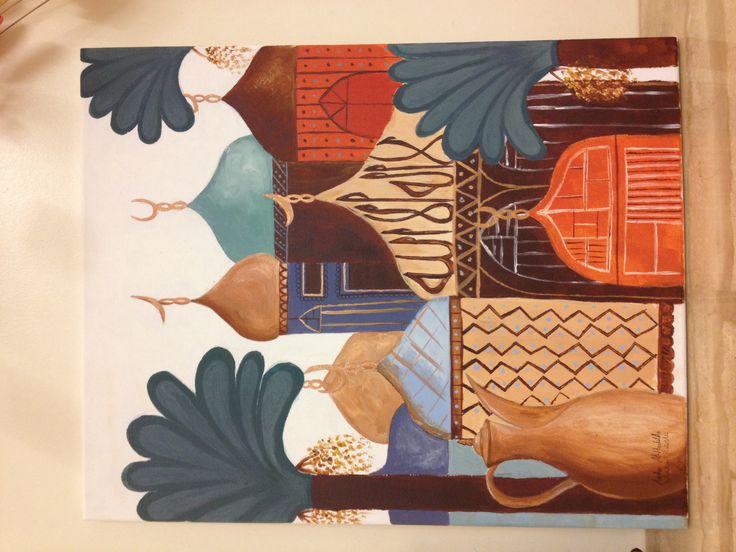 Traditional Iraqi painting done by me لوحة عراقية تشكيلية By Aisha Alhadithi