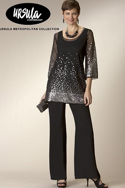 Elegant Evening Pant Suits | Ursula Chiffon and Sequin 3pc Tunic Pant Suit 13127 image