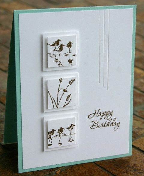 Great card for smaller images.  She used 1 and 1.25 inch squares, both popped up with dimensionals.  I like the 3 embossed lines to echo the number of images.  Classy!