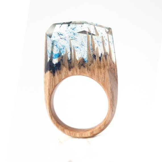 Resin Wood Ring Epoxy Resin Wood Resin Jewelry by HereComesTheWood